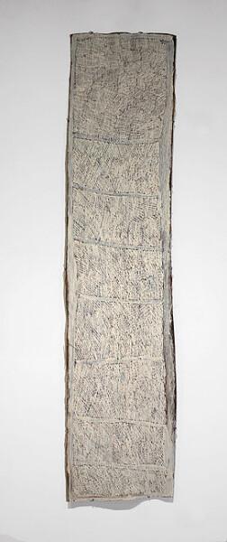 Nyapanyapa Yunupingu Untitled, 2012; 4256O; natural earth pigments on bark; 197 x 47 cm; enquire