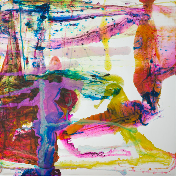 Dale Frank She was allergic to 37 different foods, 2020; powder pigments in resin, epoxyglass, on Perspex; 200 x 200 cm; enquire