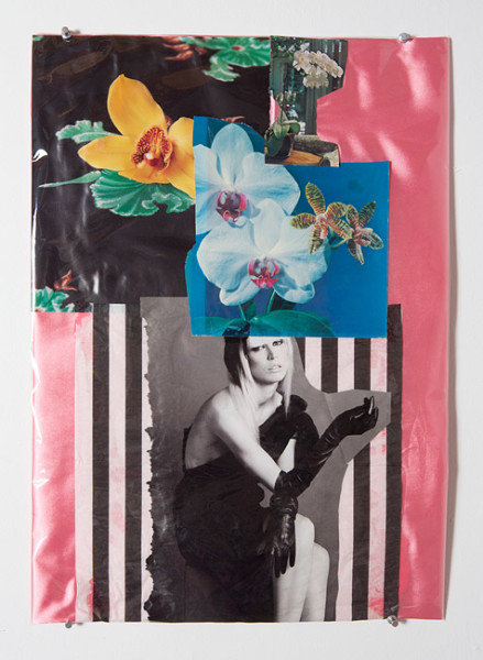 Jacqueline Fraser Balenciaga looking at Daniel Buren at the Guggenheim NYC, 2013; Mixed media collage; 59 x 42 cm; enquire