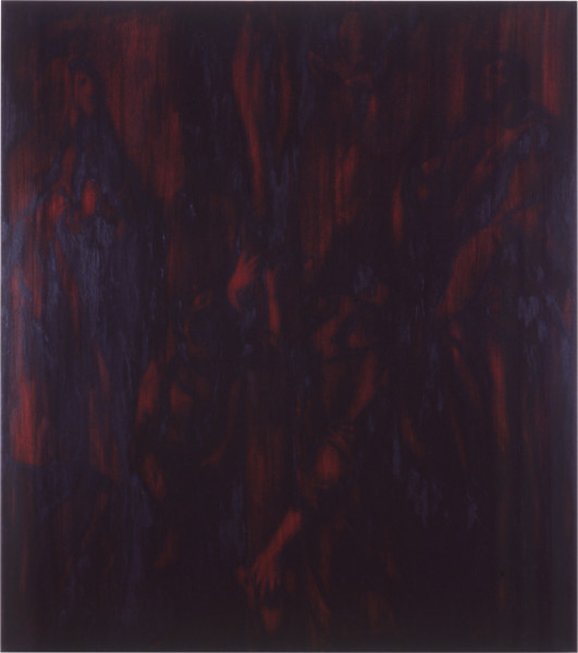Lindy Lee All Spirit in the End Becomes Bodily Visible, 1987; oils and wax on canvas; 180 x 160 cm; enquire