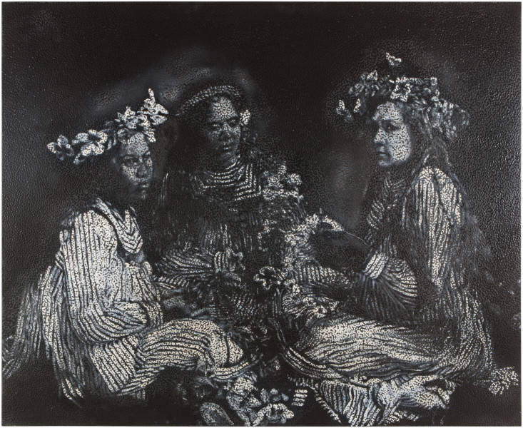 Daniel Boyd Untitled, 2014; oil, acrylic and archival glue on canvas; 198.5 x 243.5 cm; enquire