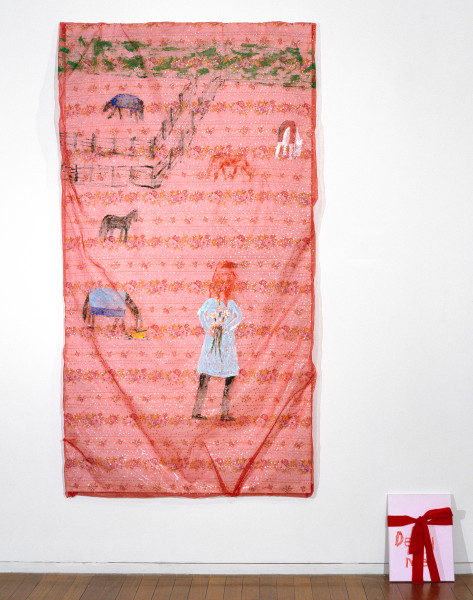 Jenny Watson Deny me, 2007; Part 1: acrylic on rabbit skin glue primed Chinese organza over Chinese cotton, 220 x 115 cm