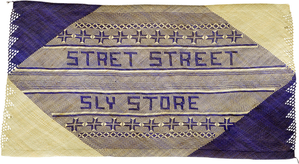Newell Harry untitled (Stret Street Sly Store), 2007; from the series gift mat; pandanus and dye; 119 x 210 cm; irregular; enquire