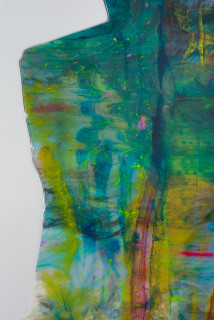 Dale Frank Young, sexy, good looking, 20, and as ignorant as fuck (detail), 2020; powder pigments in resin, broken up, epoxyglass, on Perspex; 200 x 200 cm; enquire