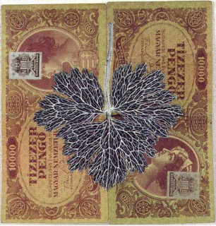 Fiona Hall Leaf Litter (detail), 2000-02; gouache on banknotes; dimensions variable; enquire