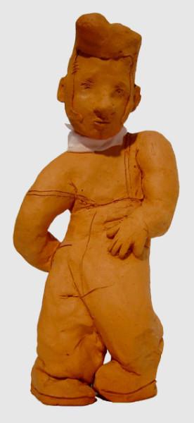 Linda Marrinon Man with Scarf and Quiff, 1999; Terracotta; 19 x 14 x 9 cm; enquire