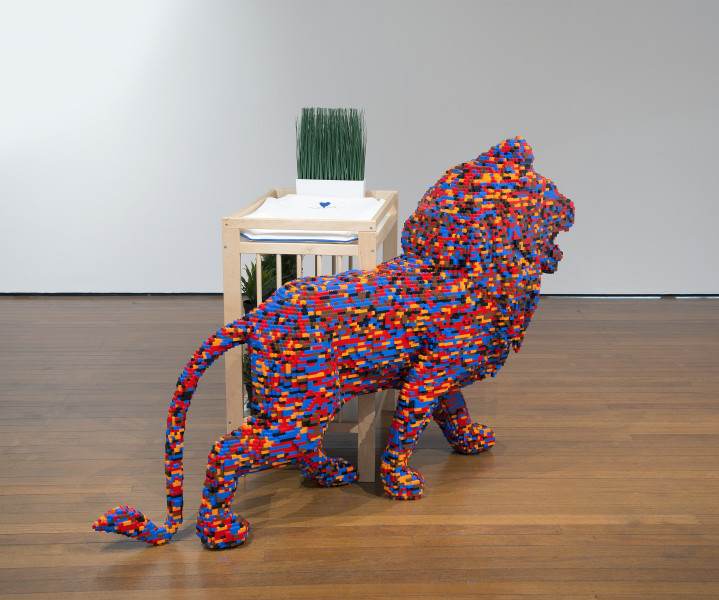 Claire Healy and Sean Cordeiro Bedroom 3, Baby's Room – Lion, 2014; Lego, Ikea changing table, change mat and plants; 183 x 70 x 125 cm; enquire