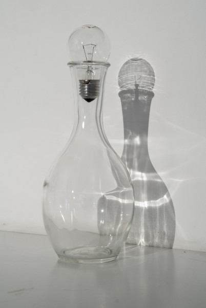 Bill Culbert The last incandescent light bulb, 2009; glass decanter, light bulb stopper; 29 x 12 x 12 cm; Edition of 20; enquire