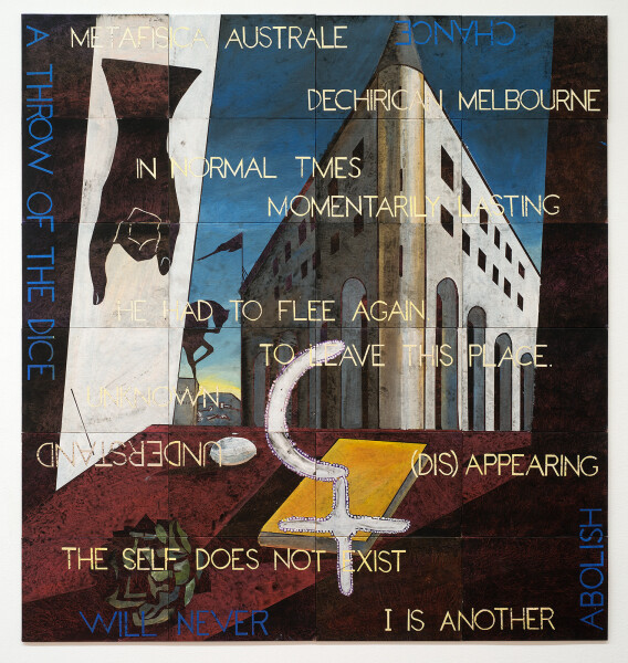 Imants Tillers In Normal Times, 2015; acrylic, gouache on 24 canvas boards, nos. 95559-95582; 150.5 x 142.5 cm; enquire