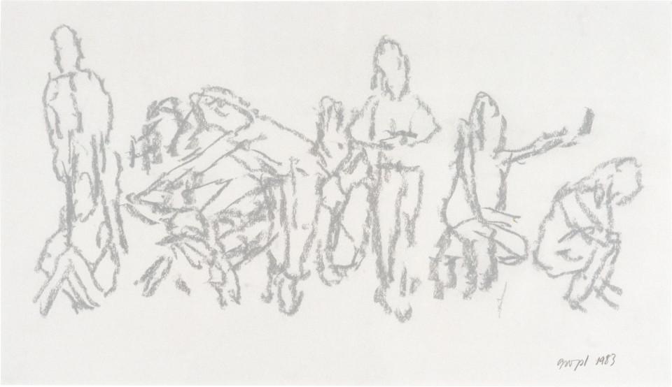 Geoff Lowe Ten People, 1983; pastel on paper; 37 x 61 cm; enquire