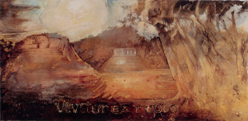 Mandy Martin Vivitur Ex Rapto, 2002; oil, ochre & pigment on linen; 135 x 275 cm; enquire