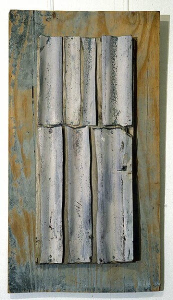 Rosalie Gascoigne Flute, 1994; corrugated iron on plywood; 100 x 54 cm; enquire