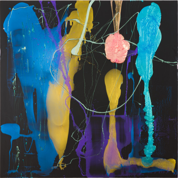 Dale Frank He was so afraid of close contact he invented mysterious skin ailments he profusely talked about, 2021; Colour pigment in Easycast, Epoxyglass, on Perspex; 200 x 200 cm; enquire