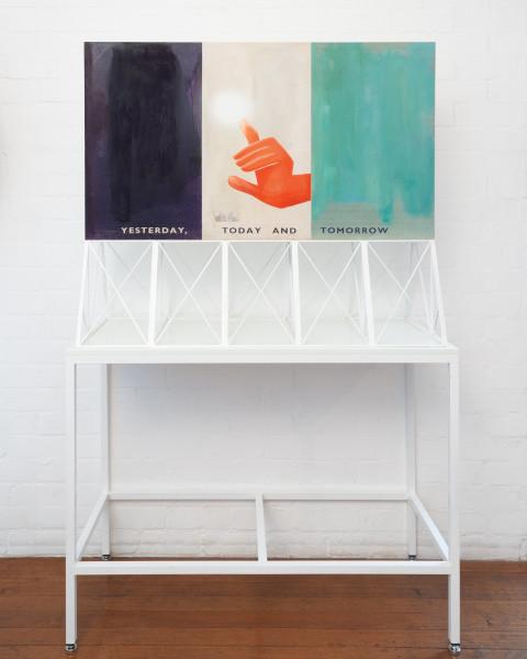 Callum Morton Screen #18: Return of the Hand, 2009; wood, acrylic paint, aluminium, paper; 93 x 110 x 45.5 cm; table 88 x 115 x 49.5 cm; enquire