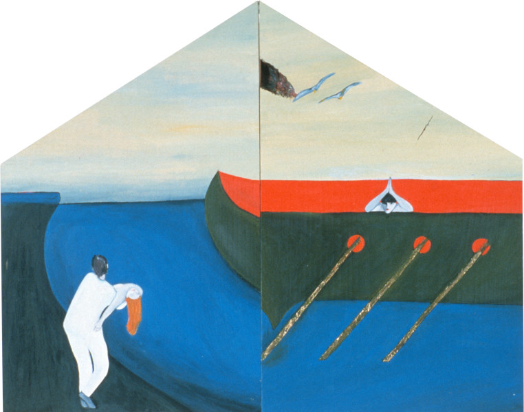 Vivienne Shark LeWitt House of the True Heart, 1984; acrylic on wood, 2 panels; 57 x 45 cm; enquire