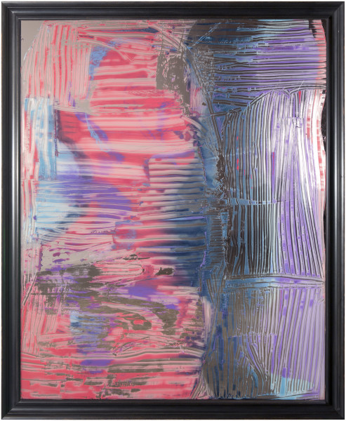 Dale Frank Foreplay is just not to be trusted, 2014; varnish on 4mm glass; 218.5 x 178.5 x 8 cm; enquire