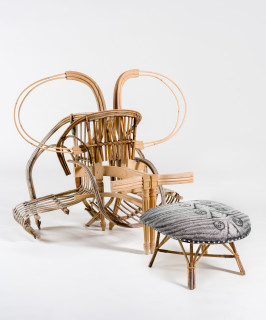 Sarah  Contos Chair and Ottoman, 2019; repurposed cane, screen-print on canvas, foam, wood; 92 x 114 x 86 cm; 34 x 85 x 51 cm; Enquire