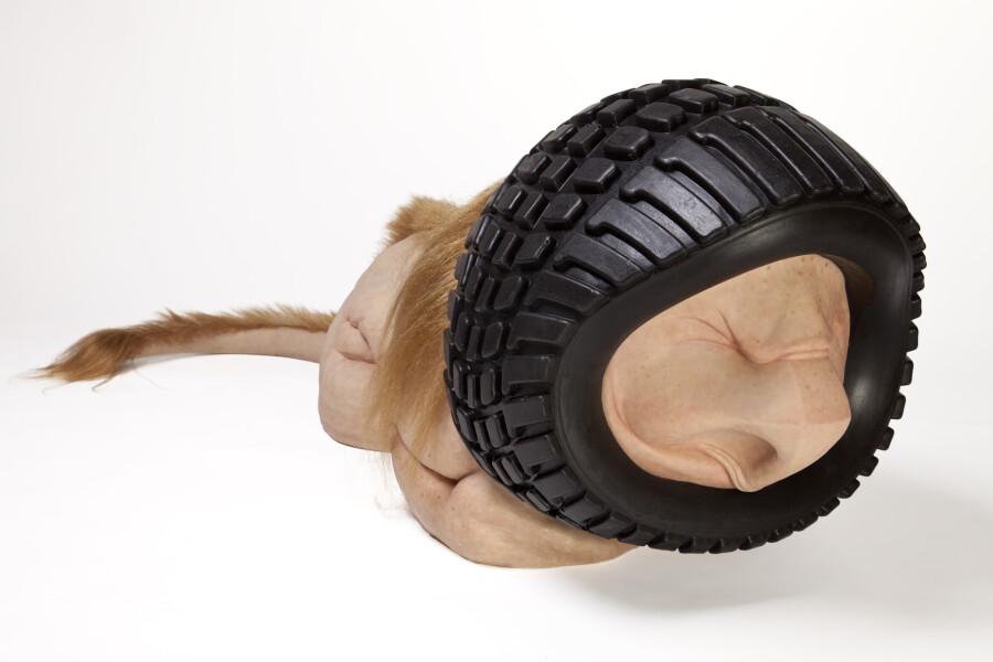 Patricia Piccinini Tyre Lion, 2018; Silicone, fibreglass, hair; 62 x 195 x 58.5 cm; Edition of 3 + AP 1; enquire