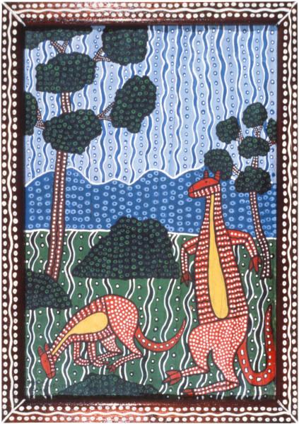 Robert Campbell Jnr Kangaroos, 1987; acrylic on bark; 70.5 x 46.5 cm; enquire