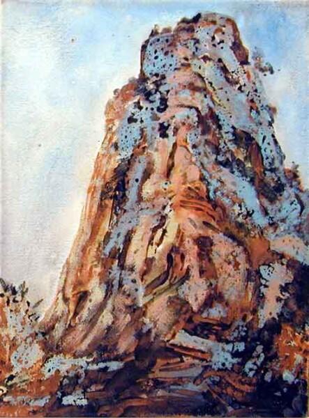Mandy Martin The Cathedral, near Camarvon Station, 2002; pigment, ochre, hematite, mica, wax medium & acrylic binder on paper; 40 x 30 cm; enquire