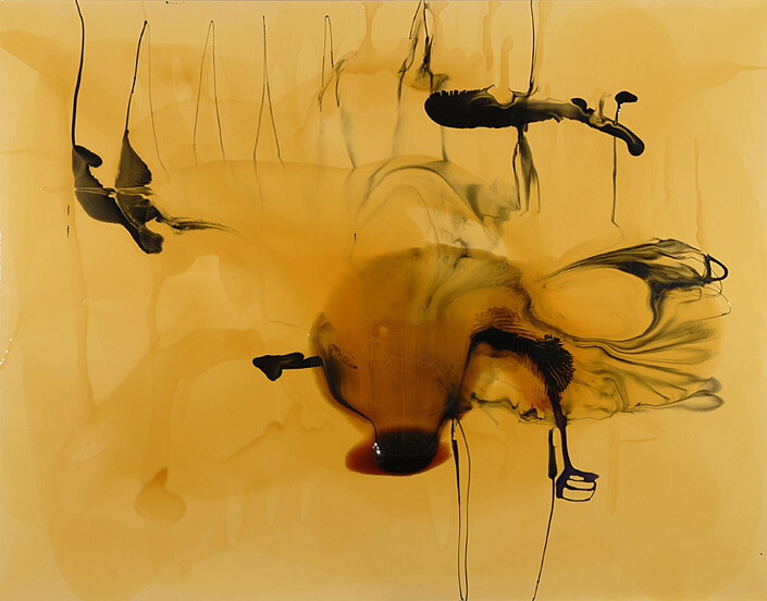 Dale Frank The fees and charges incurred conducting transactions embroidered his sense of worth, gave chase to water consumption, 2009; varnish on canvas; 200 x 260 cm; enquire