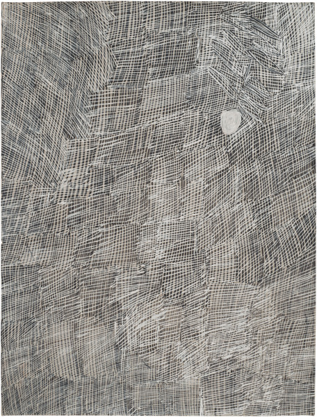 Nyapanyapa Yunupingu Djorra (paper) 18, 2014; TPA109; felt tip pen, earth pigments on discarded print proofs; 75 x 56 cm; Enquire