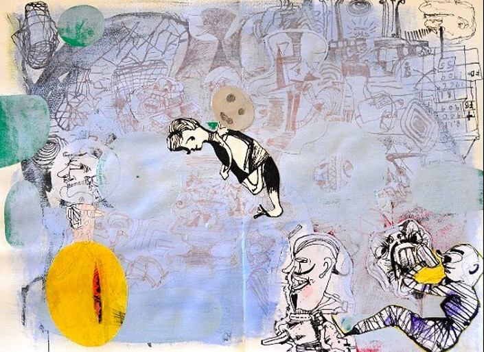 Gareth Sansom Floating figure, 1999; Ink, acrylic and collage on paper; 69 x 86 cm; Paper size: 56 x 75; enquire