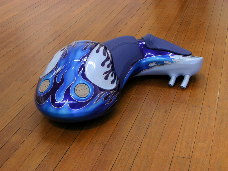 Patricia Piccinini Cyclepups: Afterburner, 2005; fibreglass, automotive paint, leather and stainless steel; 40 x 110 x 50 cm; enquire