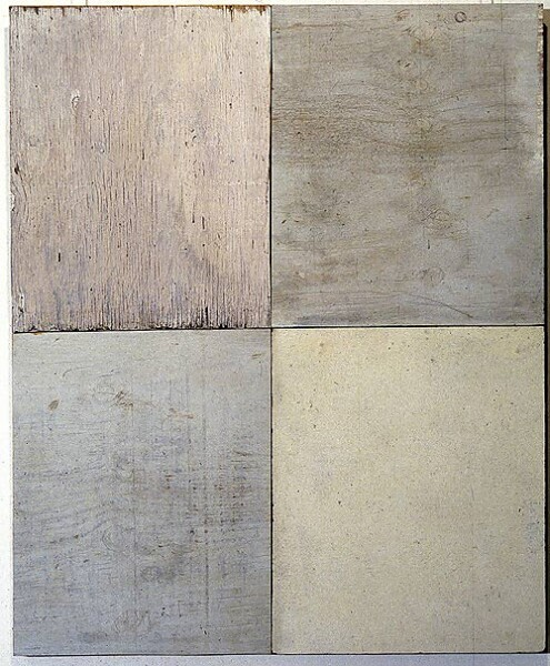 Rosalie Gascoigne Plain View 2, 1994; timber and masonite; 101.5 x 83.5 cm; enquire