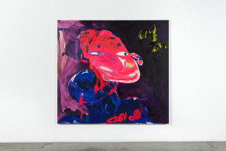 installation view; Tom Polo watch and witness, 2021; acrylic and Flashe on canvas; 198 x 213 cm; enquire