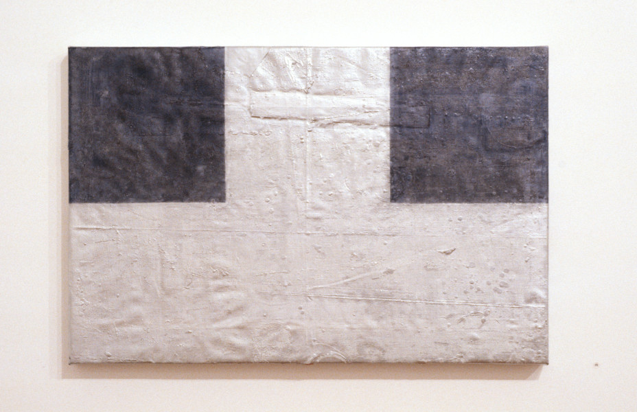 Trevor Richards Blue Square Arrangement, 1993; enamel on Belgian linen over wood; 61.5 x 91.5 cm; enquire