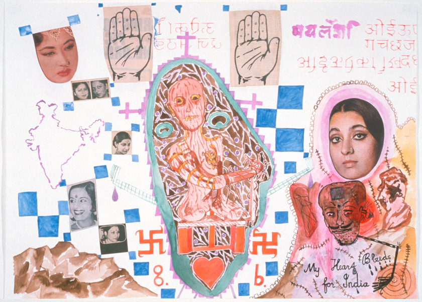 Gareth Sansom My Heart Bleeds For India, 1989; watercolour, acrylic, ink and collage on paper; 56 x 76 cm; enquire