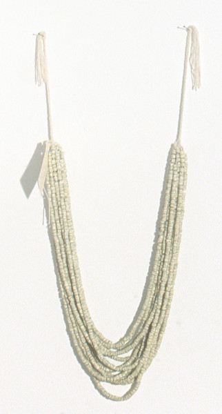 Simryn Gill Beads #5, 2002; paper and cotton, beads made from strips of pages of: John Barrow ed., Captain Cook's Voyage of Discovery, J.M. Dent & Sons Ltd, London, 1941; approx. string length 82 cm; enquire