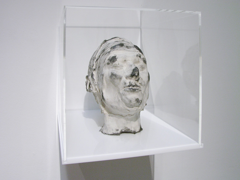Julie Rrap Eraser Head 5, 2006; silicon rubber, silica flour and graphite mounted in Perspex box; sculpture: 21 x 15 x 25 cm; box: 30 x 30 x 40 cm; enquire