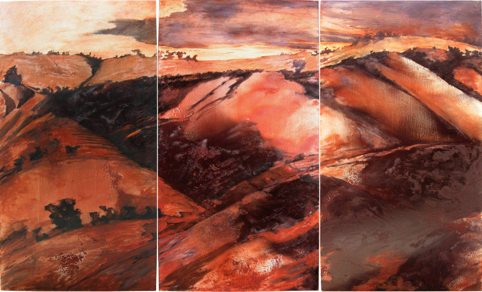 Mandy Martin Home Ground 1, 2004; ochre, pigment and oil on linen; 244 x 405 cm; enquire
