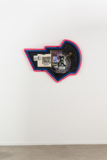 installation view; Brook Andrew This year, dealing with it..., 2020; paper, wood, neon, acrylic; 76 x 106 x 8.5 cm; enquire
