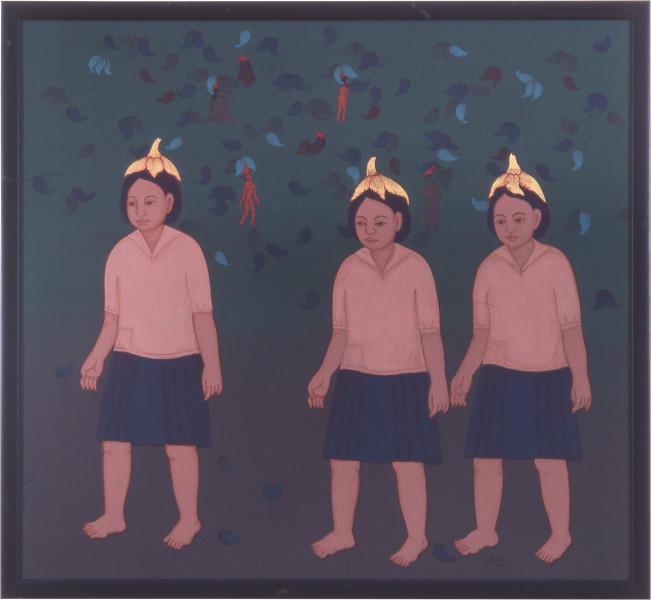Phaptawan Suwannakudt Nariphon III c, 1996; acrylic on silk; two panels, 90 x 90 cm; enquire