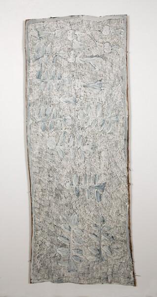 Nyapanyapa Yunupingu 7. Untitled, 2013; 4358W; natural earth pigments on bark; 197 x 77 cm; enquire
