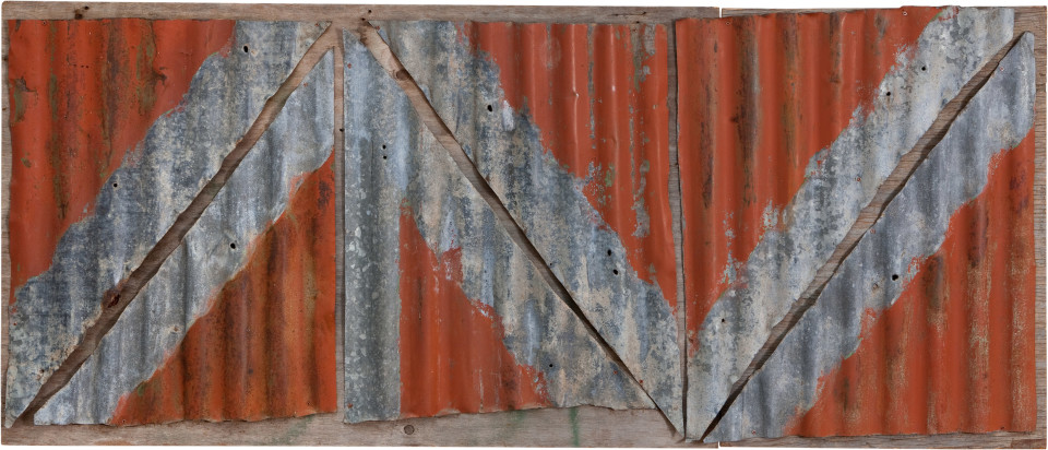 Rosalie Gascoigne Rose Red City #5, 1992; corrugated iron on wood; 85 x 199 cm; enquire