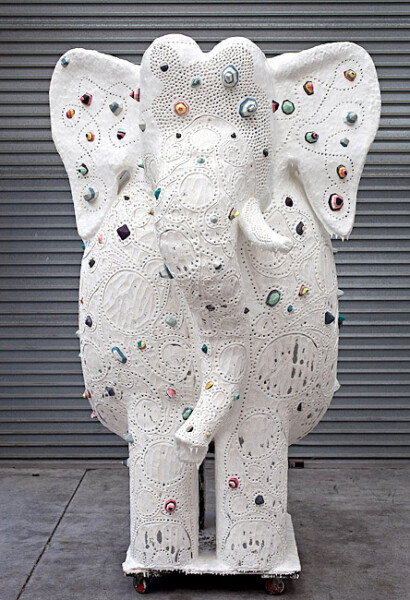 Rohan Wealleans He of 109 Names and one tusk, 2009; polystyrene, fibreglass and paint; 208 x 137 x 140 cm; enquire