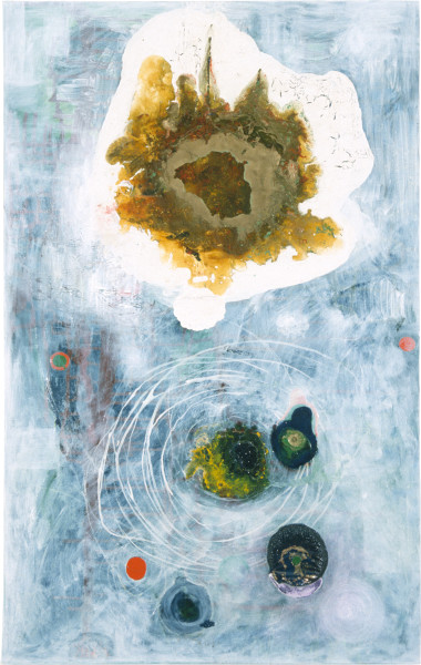 Dale Frank The Whiteness, 1986; acrylic & mixed media on canvas; 120 x 75 cm; enquire