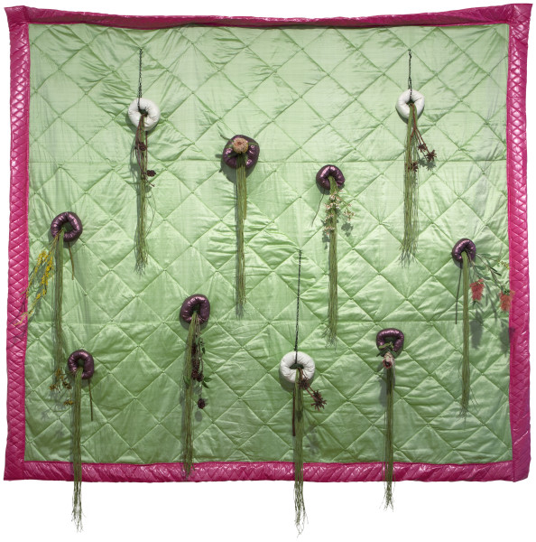 Sarah  Contos Vertical Australian Garden Quilt, 2015; Repurposed quilt, fabric, poly-fil, faux flowers, garden ties and thread; 290.5 x 279 x 28 cm; enquire