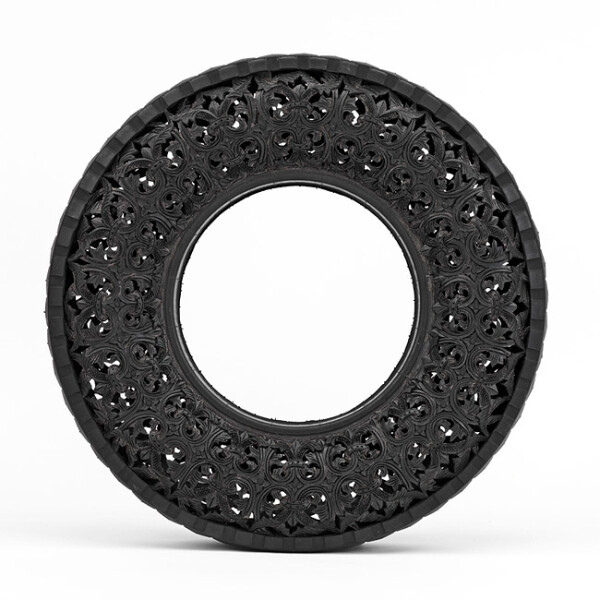 Wim Delvoye Untitled (Car Tyre) 10, 2007; handcarved car tyre; 81.5 x 81.5 x 17 cm; enquire