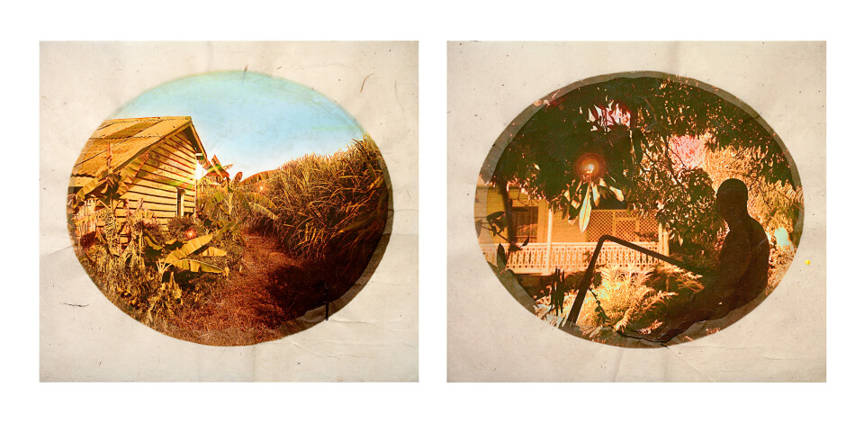 Tracey Moffatt Plantation (Diptych No. 8), 2009; Digital print with archival pigments, InkAid, watercolour paint and archival glue on handmade Chautara Lokta paper; 54 x 57.5 cm; Paper size: 46 x 50.5 cm (each) - Diptych; Edition of 12 + AP 2; enquire