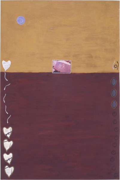Fiona Foley Black Velvet & Beyond, 1989; acrylic, pastel, ink and collage on paper; 152 x 102 cm; enquire