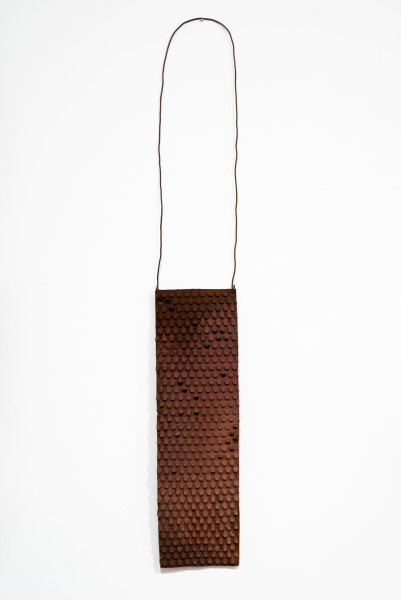 Lorraine Connelly-Northey Narrbong, 2019; CONNL - 0006; rusted iron, tin backing, wire; 170 x 26 x 7 cm; Enquire