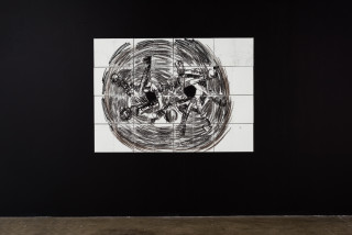 installation view; Pierre Mukeba Antinomy Paradox (P3), 2021; charcoal on archival paper; 120 x 168 cm; enquire