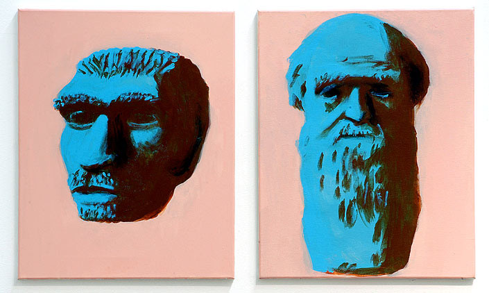 Tony Clark Portrait of the Neandertaler and Portrait of Charles Darwin, 2006; from the series Exhibited in 'Stolen Ritual', 2006; acrylic and permanent ink on canvas board; 2 panels, overall dimensions 50 x 80cm; enquire
