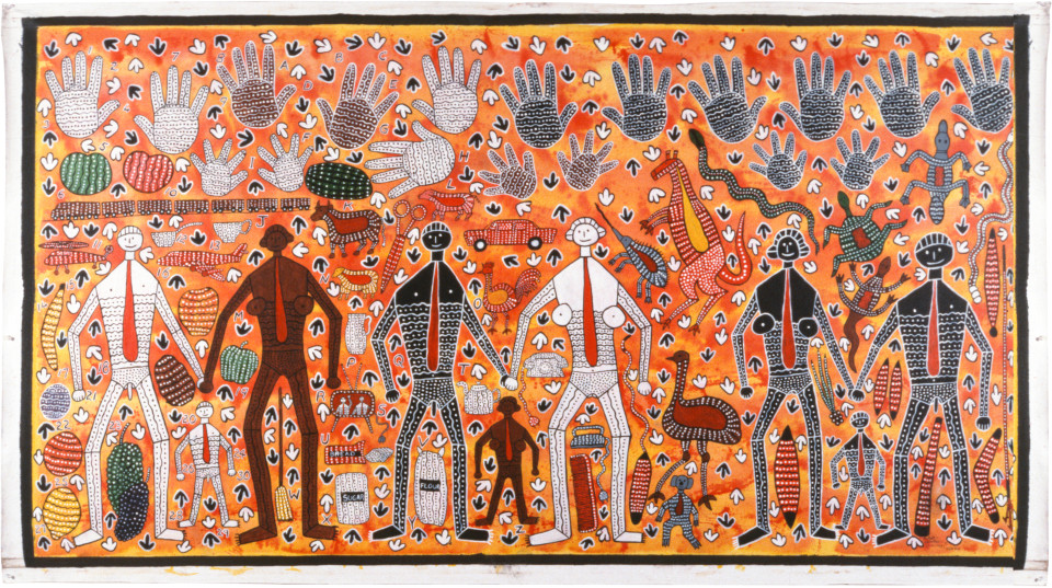 Robert Campbell Jnr Hands of time (assimilation and integration), 1987; acrylic on canvas; 130 x 232.5 cm; enquire