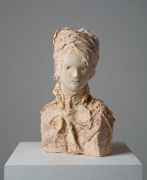 Linda Marrinon Lady with shawl, 2014; tinted and painted plaster; 41 x 21 x 21 cm; enquire